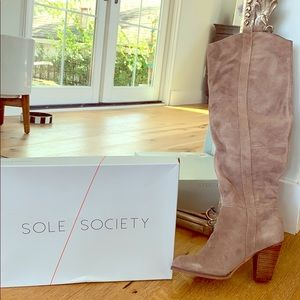 New w box - Knee High Suede Boot - Sole Society